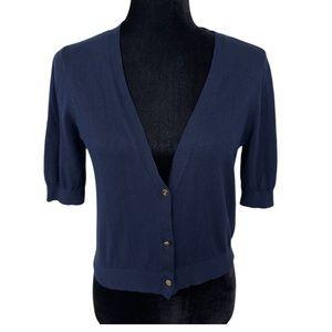 NWT Ralph Lauren Navy Buttoned Short Slv Sweater